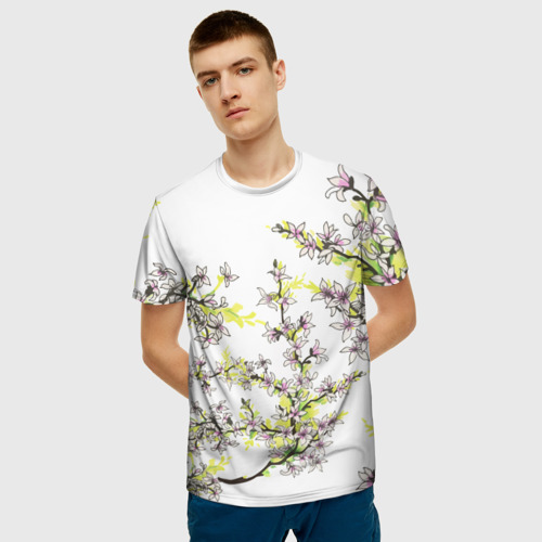 Мужская 3D футболка с принтом Сакура, фото на моделе #1