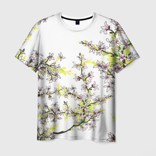 Мужская 3D футболка с принтом Сакура, вид спереди #2
