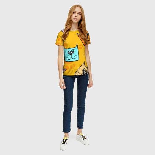 Женская 3D футболка с принтом Котики, вид сбоку #3