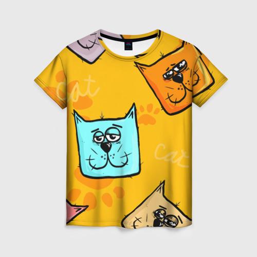 Женская 3D футболка с принтом Котики, вид спереди #2
