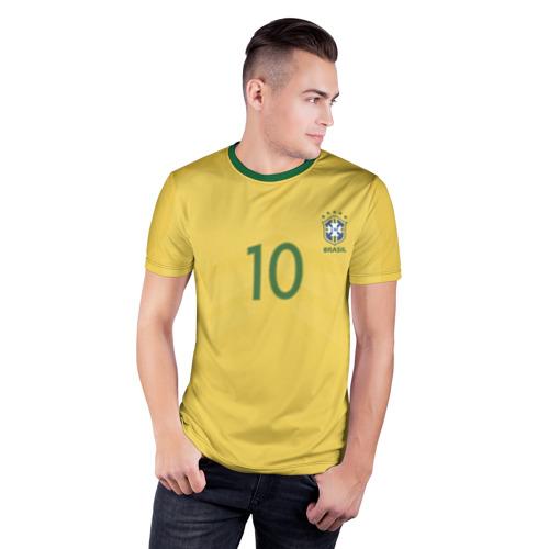 Мужская футболка 3D спортивная с принтом Неймар Форма Домашняя 17/18, фото на моделе #1
