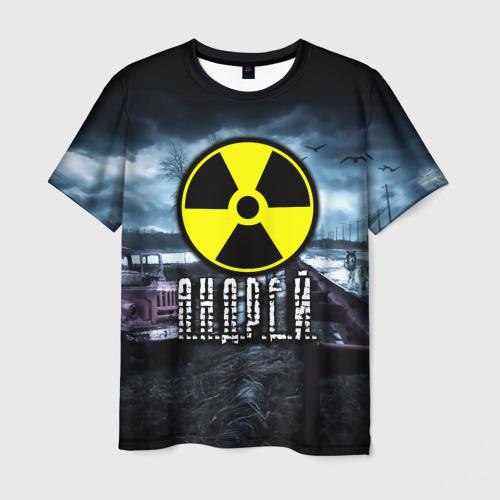 Мужская 3D футболка с принтом STALKER - АНДРЕЙ, вид спереди #2