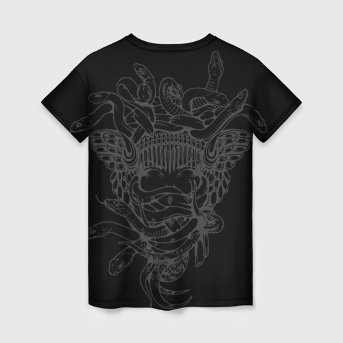 Женская 3D футболка с принтом Горгона Медуза, вид сзади #1