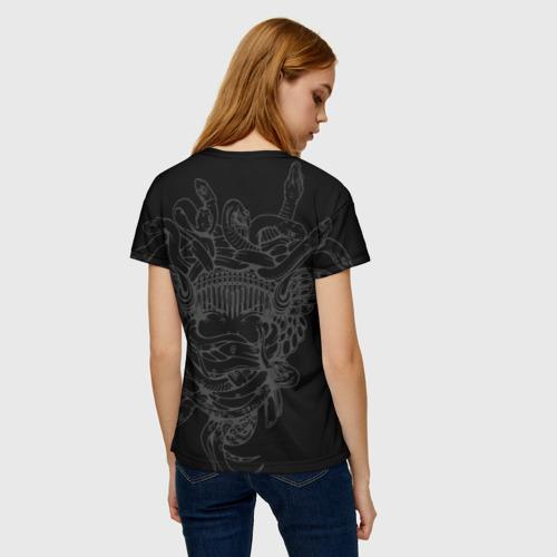 Женская 3D футболка с принтом Горгона Медуза, вид сзади #2