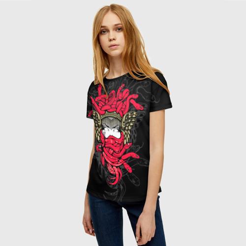 Женская 3D футболка с принтом Горгона Медуза, фото на моделе #1