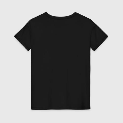 Женская футболка с принтом Сова в шапке, вид сзади #1