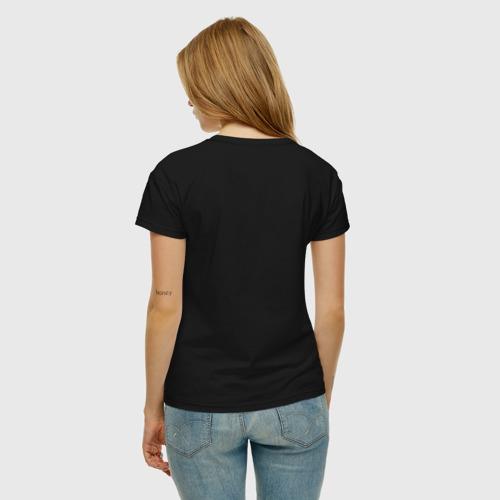 Женская футболка с принтом Сова в шапке, вид сзади #2