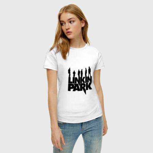 Женская футболка с принтом Linkin Park, фото на моделе #1