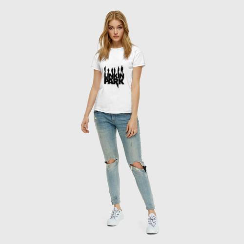 Женская футболка с принтом Linkin Park, вид сбоку #3