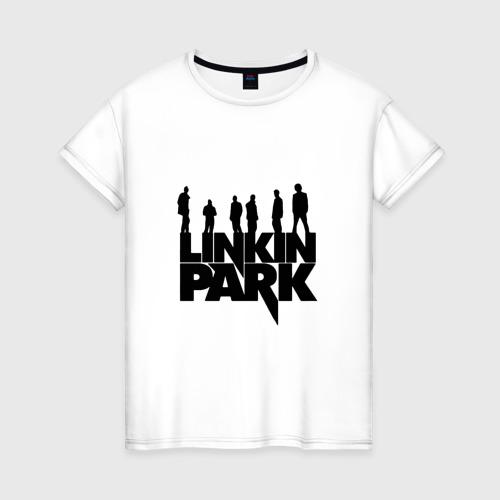 Женская футболка с принтом Linkin Park, вид спереди #2