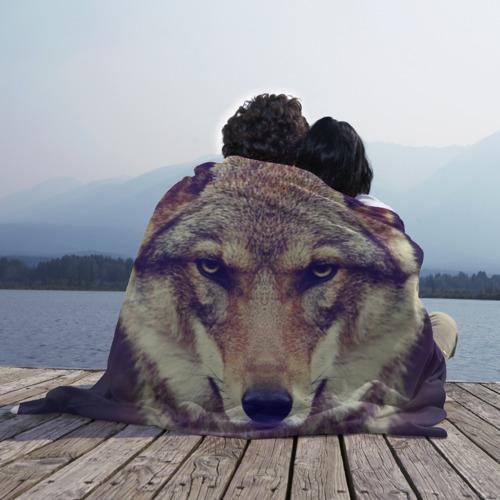 Плед 3D с принтом Wolf, фото на моделе #1