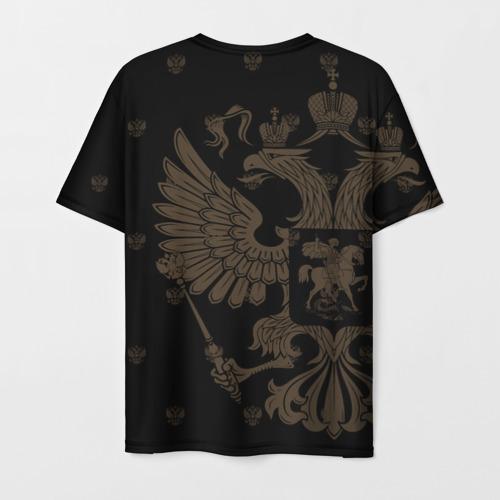 Мужская 3D футболка с принтом Герб России, вид сзади #1