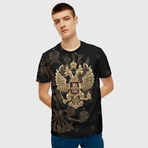 Мужская 3D футболка с принтом Герб России, фото на моделе #1