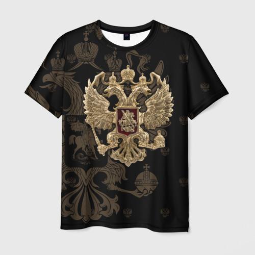 Мужская 3D футболка с принтом Герб России, вид спереди #2
