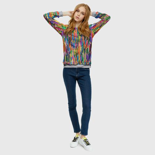 Женский 3D свитшот с принтом Разноцветные карандаши, вид сбоку #3