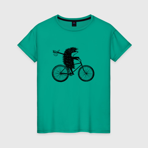Женская футболка Ежик на велосипеде