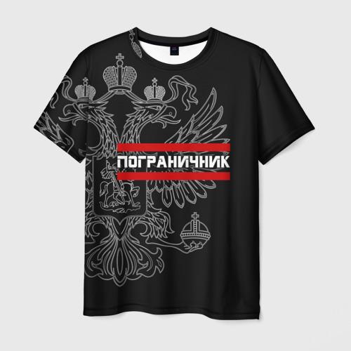 Мужская 3D футболка Пограничник белый герб РФ