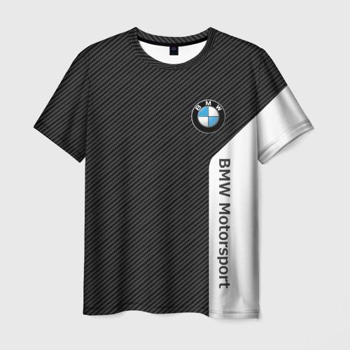 Мужская 3D футболка с принтом BMW CARBON | БМВ КАРБОН, вид спереди #2
