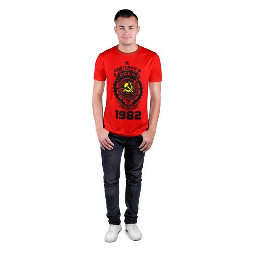 Мужская футболка 3D спортивная с принтом Сделано в СССР 1982, вид сбоку #3
