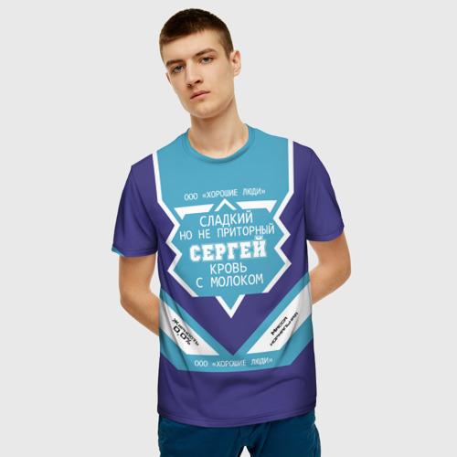 Мужская 3D футболка с принтом Сергей - банка сгущенки, фото на моделе #1