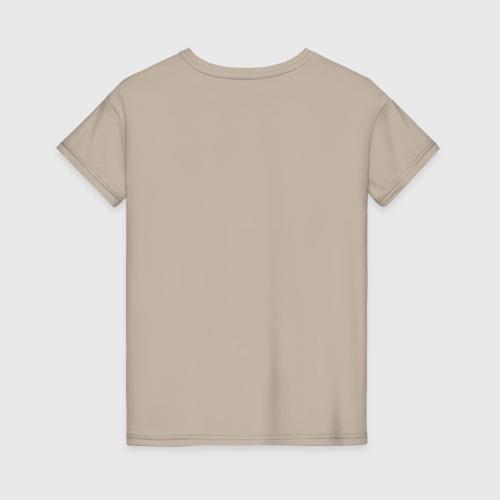 Женская футболка с принтом Осторожно!, вид сзади #1