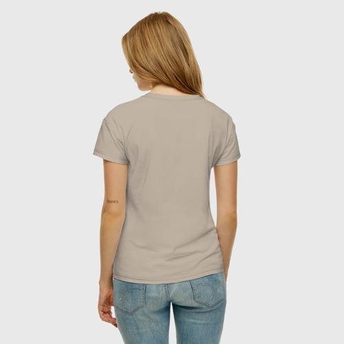 Женская футболка с принтом Осторожно!, вид сзади #2