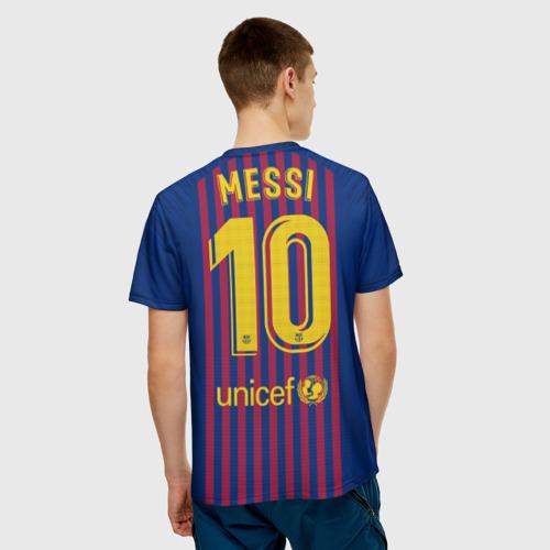 Мужская 3D футболка с принтом Messi home 18-19, вид сзади #2