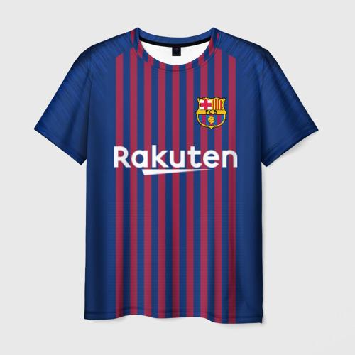 Мужская 3D футболка с принтом Messi home 18-19, вид спереди #2