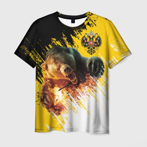 Мужская 3D футболка Имперский флаг и медведь