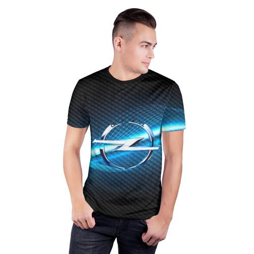 Мужская футболка 3D спортивная с принтом OPEL machine motor XXI, фото на моделе #1