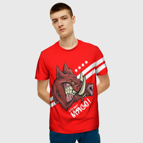 Мужская 3D футболка с принтом Кто мы? Мясо!, фото на моделе #1