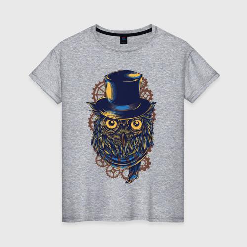 Женская футболка с принтом Сова, вид спереди #2