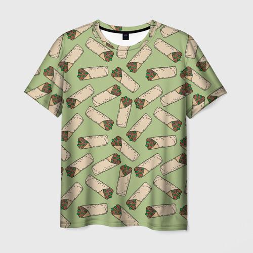 Мужская 3D футболка с принтом Шаверма, вид спереди #2