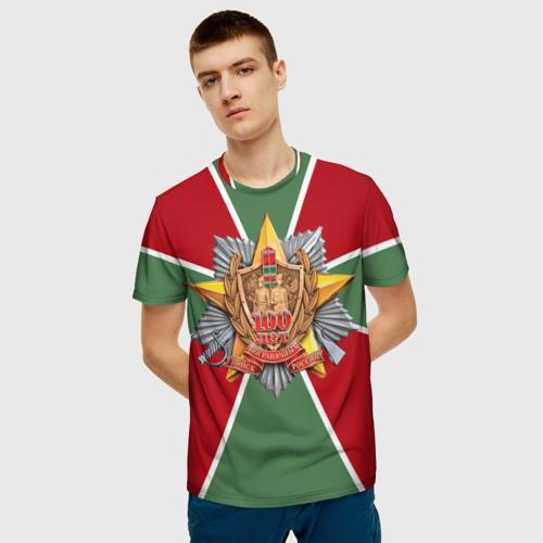 Мужская 3D футболка с принтом 100 лет пограничных войск, фото на моделе #1