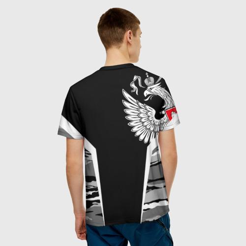 Мужская 3D футболка с принтом Камуфляж Россия, вид сзади #2
