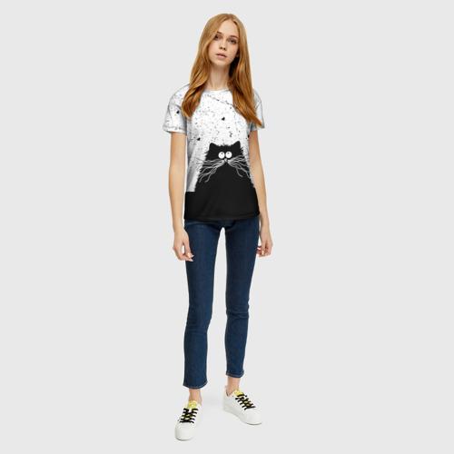 Женская 3D футболка с принтом Котик, вид сбоку #3