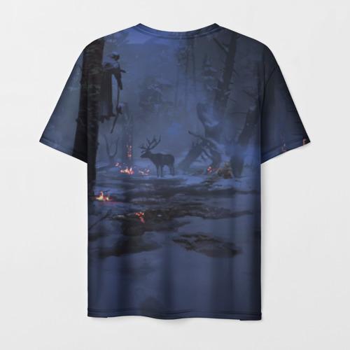 Мужская 3D футболка с принтом Кратос, вид сзади #1