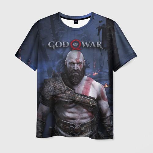 Мужская 3D футболка с принтом Кратос, вид спереди #2