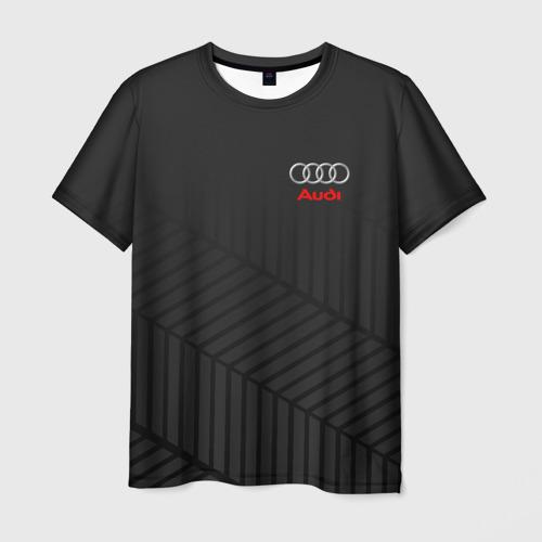 Мужская 3D футболка с принтом AUDI SPORT, вид спереди #2