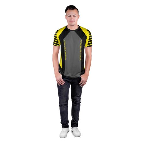 Мужская футболка 3D спортивная с принтом Volleyball, вид сбоку #3