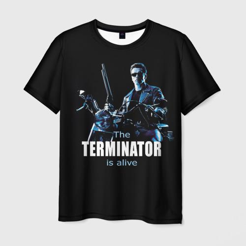 Мужская 3D футболка с принтом Terminator alive, вид спереди #2