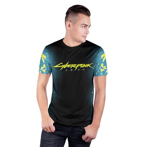 Мужская футболка 3D спортивная с принтом CYBERPUNK 2077   КИБЕРПАНК 2077, фото на моделе #1