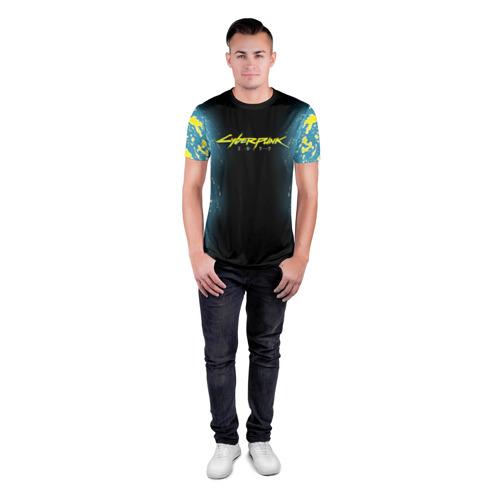 Мужская футболка 3D спортивная с принтом CYBERPUNK 2077   КИБЕРПАНК 2077, вид сбоку #3