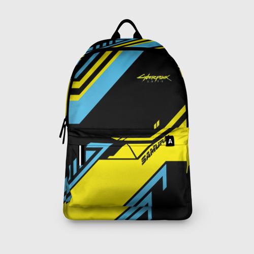 Рюкзак 3D с принтом CYBERPUNK 2077 SAMURAI | САМУРАЙ, вид сбоку #3