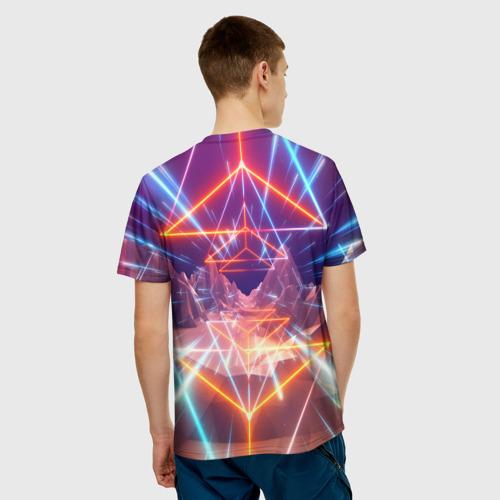 Мужская 3D футболка с принтом Cyber Punk 2077, вид сзади #2