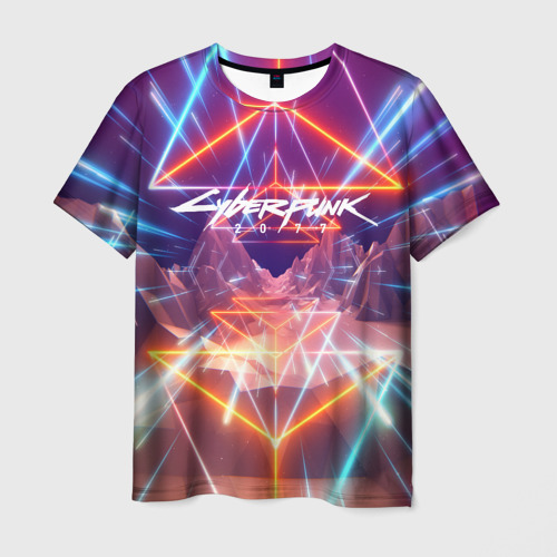 Мужская 3D футболка с принтом Cyber Punk 2077, вид спереди #2