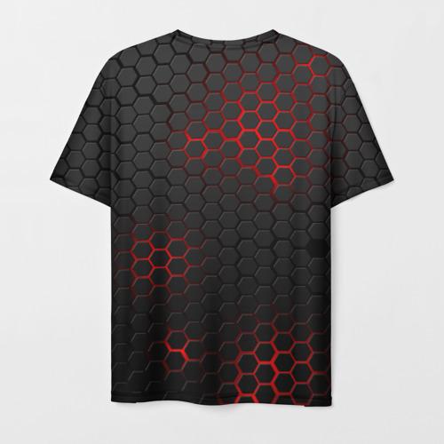 Мужская 3D футболка с принтом СТАЛЬНАЯ БРОНЯ   STEEL ARMOUR   НЕОНОВАЯ БРОНЯ, вид сзади #1
