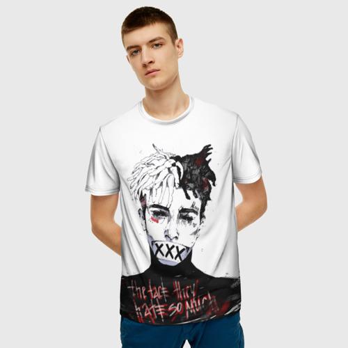 Мужская 3D футболка с принтом Xxxtentacion, фото на моделе #1