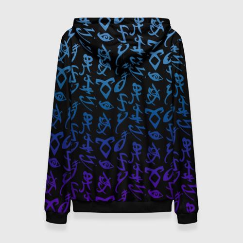Женская 3D толстовка с принтом Blue runes, вид сзади #1