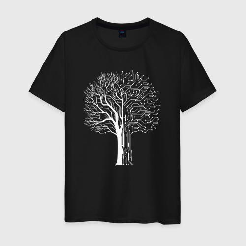 Мужская футболка Дерево Киберпанк